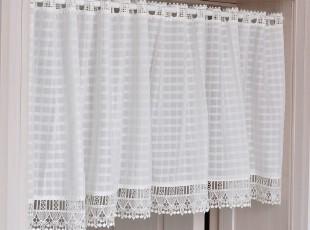 经典白色方格子咖啡帘半帘柜帘橱帘小短帘窗帘,窗帘,