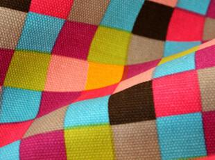 彩色格子纯棉帆布布料面料窗帘布沙发布桌布盖布抱垫,手工,窗帘,
