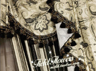 海伦娜系列-黑 美式乡村风格贡缎100%棉布窗帘面料床品面料,窗帘,
