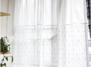 [慢素mansu]巴厘白。穿杆帘纯棉蕾丝布窗帘 定做定制,窗帘,