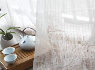 [慢素mansu]巴塞罗那。日单进口纯棉布窗帘薄款 定做定制,窗帘,