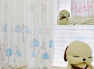 【小雨伞】韩式宜家公主儿童房卡通男女孩卧室飘窗帘窗纱布艺特价,窗帘,