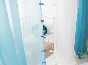 米兰家纺  最新地中海窗帘窗纱特价 卧室客厅窗纱 蓝色天空,窗帘,