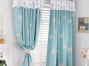 【Asa room】韩国进口代购 蓝色云朵短款遮光成品卧室窗帘k447-b,窗帘,