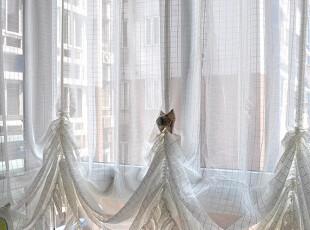 特价梦幻方格美式乡村/地中海/田园 飘窗公主帘窗帘成品窗纱升降,窗帘,