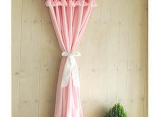 粉色甜美蛋糕花边主卧室布艺窗帘定做 纯棉环保 一米价,窗帘,