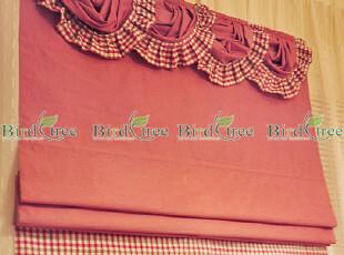 田园风格乡村风格红色波浪翻幔罗马帘窗帘--原色魅力,窗帘,