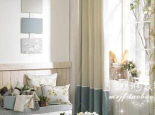 地中海乡村 高档纯棉布 定制窗帘布艺-清新蓝绿小线格,窗帘,