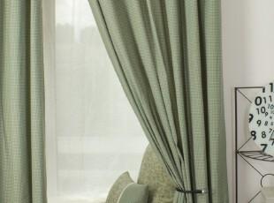 美式田园乡村 窗帘布艺遮光窗帘布艺 客厅卧室遮光布灰绿,窗帘,