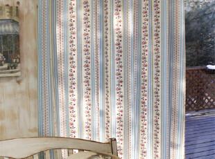 【越帛】田园小清新蓝底小碎花 民族风 韩式窗帘阳台客厅,窗帘,