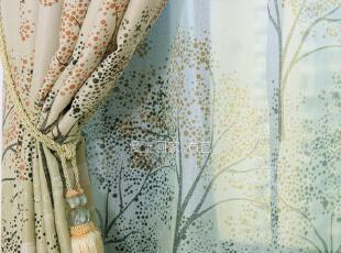 【发财树成品】田园自然风窗帘窗纱高档客厅卧室遮光布艺窗帘特价,窗帘,