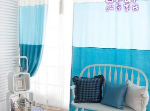 沁萍家纺/窗帘/窗纱/地中海风情/客厅/阳台/拼接窗帘~海水蓝,窗帘,