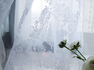 陌上花开 欧式风格/田园乡村典雅植绒欧式纹样白纱/窗帘定做,窗帘,