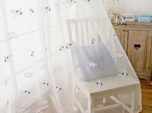在韩国定做 蓝色小飞机儿童窗帘/童趣卡通白色纱帘 内纱,窗帘,