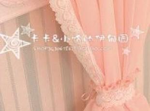 【韩国代购窗帘】蔓舞柔~蕾丝公主房落地纱窗帘隔断帘~白、粉可定,窗帘,