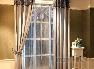 伊幔尼 正品涤棉现代简约黑白竖条客厅书房成品窗帘窗纱ZW1107,窗帘,