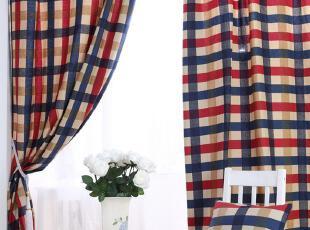 地中海美式 加厚纯棉布料 窗帘飘窗帘定做【爱丁堡】系列,窗帘,