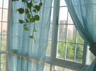 冰之蓝----时光回廊~希腊棉麻钩针窗帘(160*260),窗帘,