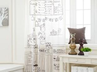 韩国代购 可爱卡通风格棕色亚麻棉混纺窗帘 家务事 单片,窗帘,