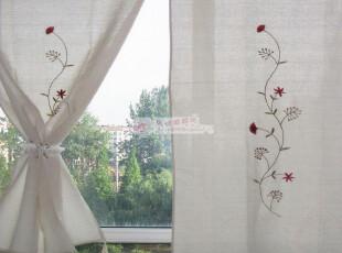 悠悠一梦 藤蔓 希腊棉麻钩针窗帘150高 古朴乡村咖啡帘,窗帘,