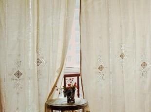 外贸 粗布钩针镂空成品窗帘 布艺窗帘 出口希腊 1.5*1.752.5米高,窗帘,