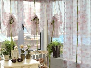 印花绣花成品提拉帘绳帘飘窗水波纱帘窗幔窗帘升降帘窗纱半帘,窗帘,
