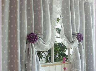 『韩国进口窗帘』R396 *梦幻紫色水玉点点*双层窗帘,窗帘,