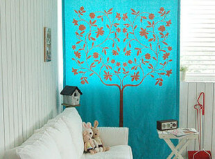 法国进口布艺大树图案优雅蓝色窗帘罗马帘 可定做,窗帘,