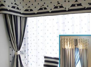 地中海 蓝色条纹水玉圆点 客厅卧室书房儿童棉质窗帘 海量实景图,窗帘,