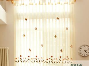 A81 田园乡村风小蜜蜂纱帘 绣花 成品 外贸 隔断 刺绣窗纱窗帘,窗帘,