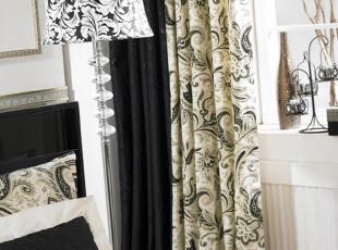 海伦娜-黑 北欧风格 韩式优雅花枝 高档贡缎纯棉印花/棉布窗帘,窗帘,