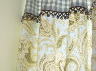海伦娜系列-蓝 欧式田园乡村韩式风格贡缎纯棉布窗帘面料,窗帘,