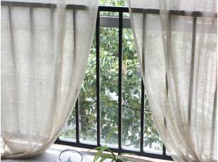 [慢素mansu]茶香。东南亚乡村棉麻窗帘本色穿杆帘定做定制,窗帘,