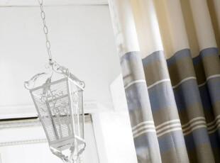 北欧 地中海风格 韩式 高档纯棉色织窗帘面料/蓝灰条纹,窗帘,