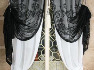 ★公主梦想★韩国家居*在韩国定做*黑色蕾丝*双层装饰窗帘W1549,窗帘,