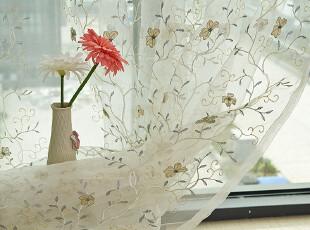 韩式白色 绣花窗纱  高档/窗帘/客厅/卧室/阳台/隔断/特价冲量,窗帘,