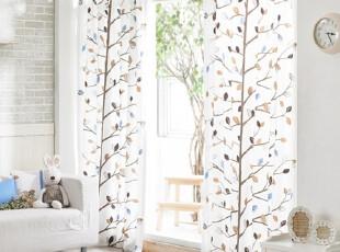 【Asa room】韩国窗帘进口 田园小树长款成品客厅卧室窗帘 k354-b,窗帘,
