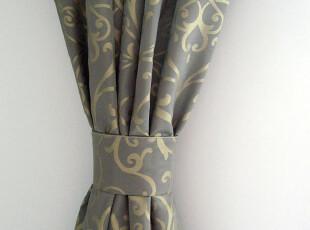 陌上花开 欧式古典/马赛灰蓝 锦缎提花遮光保温面料/窗帘定制,窗帘,