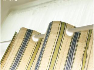 [慢素mansu]明天。条纹打孔帘棉麻窗帘130*205cm 成品,窗帘,