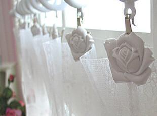 『韩国网站代购』轻描淡写脱俗清新白玫瑰窗帘夹5P装,窗帘,