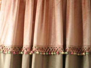 陌上花开 欧式/简欧风格高品质竹纤维绒布咖啡色花边/窗帘定做,窗帘,