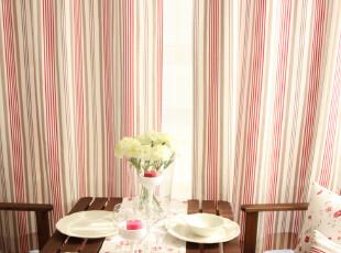 田园风格 条纹/小碎花 纯棉 窗帘 2片装 蔷薇系列,窗帘,