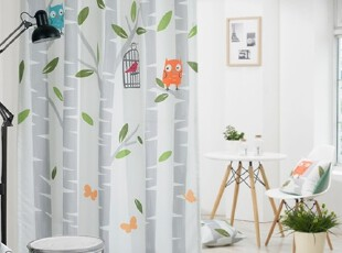 【Asa room】韩国窗帘进口成品树叶白色卧室客厅半遮光窗帘k458-w,窗帘,
