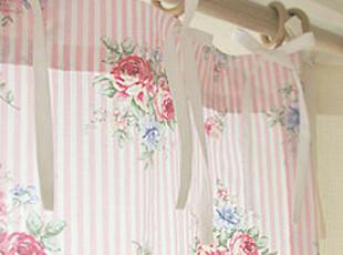 『韩国网站代购』暖冬的玫瑰浓情 嫩粉条纹蝴蝶结窗帘,窗帘,
