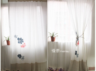 [慢素mansu]鸣春。外贸拼布帘穿杆帘棉麻窗帘 成品,窗帘,