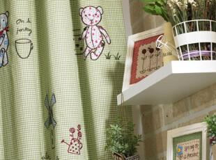 小熊风车 高级环保儿童房色织全棉贴布绣 田园 卡通 窗帘床品定制,窗帘,