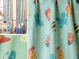 趣味童年-蓝 田园/乡村风格可爱儿童房小动物卡通窗帘定做,窗帘,