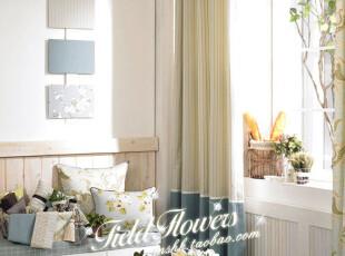 韩式 简约 现代时尚/田园风格定制高档全棉拼接款窗帘面料/条纹蓝,窗帘,