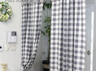 【Asa room】韩国窗帘 进口黑白格子纹布艺成品遮光窗帘 k039-bl,窗帘,