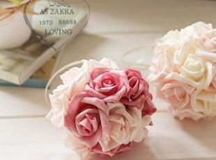 韩式仿真花艺 手感幸福玫瑰花球/门挂/窗帘挂家居仿真花装饰花,窗帘,